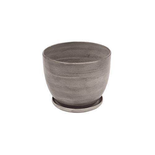 Pot de fleur ceramique Baril avec support soucoupe hauter 10,5 cm diametre 13 en couleur de beton