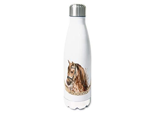 GRAZDesign Isolierte Trinkflasche Kinder Edelstahl Thermoflasche 500ml, für Schule, Sport, Personalisiertes Geschenk Wasserflasche Motiv Pferd in Braun