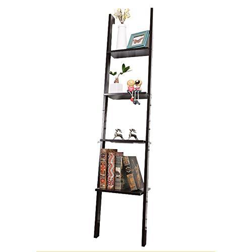 QiHaoHeji boekenkast van hout, 1 ladderrek, 4 lagen, Office/keuken om op te hangen