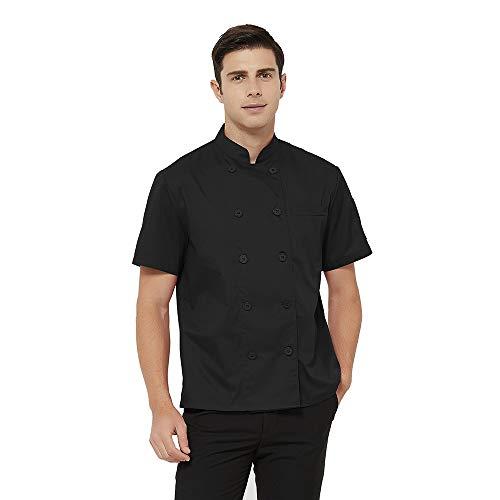 TOPTIE Short Sleeve Chef Coat Jacket Black Lightweight Button Chef Uniform