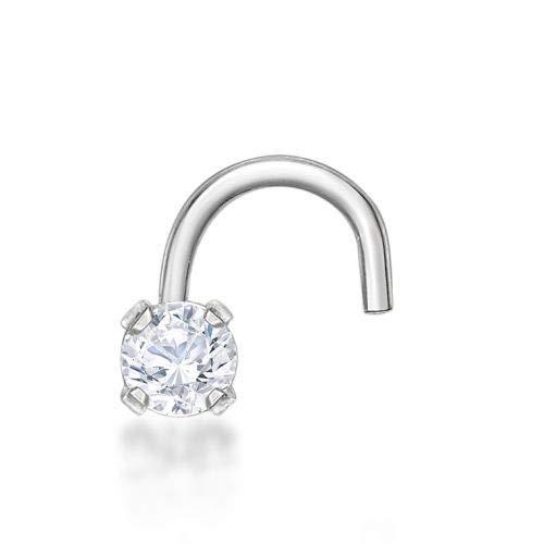 Lavari 14k Gold 2mm White Cubic Zirconium Nose Ring Curve Stud