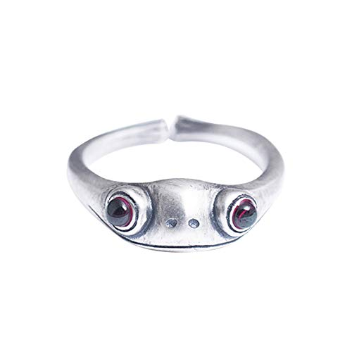 JIekyoi 925 Sterling Silver Frog Ring with Red Jade Garnet,3D Silver Frog Rings,Women Cute Frog Finger Adjustable Open Ring Gifts,Frog Prince Design Personality Ring Retro A++
