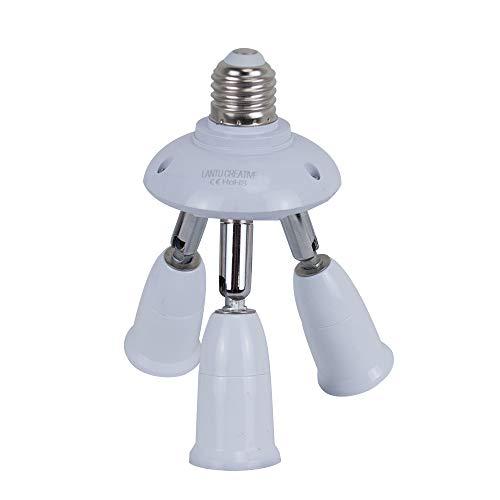 3 in 1 Socket Adapter E27 Socket Adapter to 3 E27 Standard LED Bulbs Splitter Adapter,E26 E27 Universal lamp holder with 360 Degrees Adjustable 180 Degree Bending