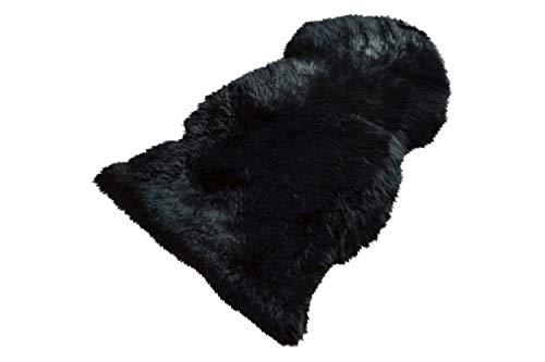 Nature Asan Premium Tapis Peau de Mouton Naturel Cheveux Longs Fourrure, Salon Style, Coussin déco Chemin de Tapis, Noir, 90-100 cm