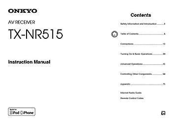 Onkyo Integra TX-NR515 Receiver Owners Instruction Manual Reprint [Plastic Comb]