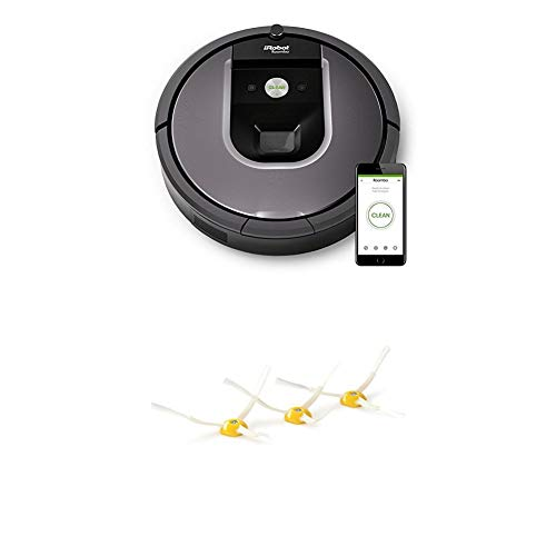IRobot Roomba 960 Saugroboter, App-Steuerung (hohe Reinigungsleistung, keine Verhedderungen und mit Dirt Detect, WLAN-fähig) silber + Pack mit 3 Seitenbürsten Roomba Seria 800