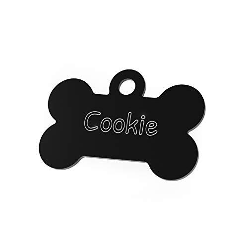 ENGRAVO Hundemarke Knochen in Schwarz 32mm mit Deiner persönlichen Gravur und 2 gratis Schlüsselringe