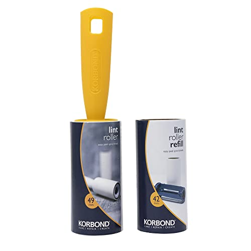 Korbond Lint Roller & Refill Set – One Lint Roller and One Large Replacement Head – 91 Sheets in Total - Suitable for ALL FABRIC TYPES