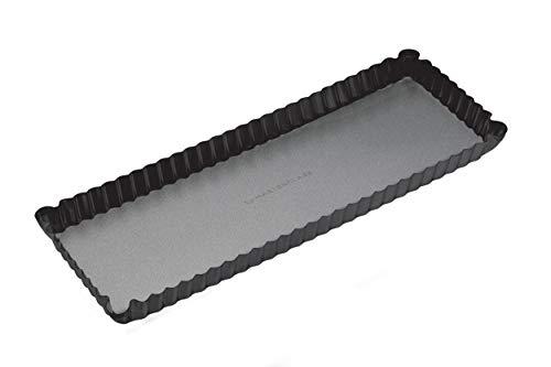 Master Class Rechteckige Antihaft-Kuchenform/Quicheform mit gewelltem Rand und losem Boden, Stahl, Schwarz, 36 x 13 x 2.5 cm