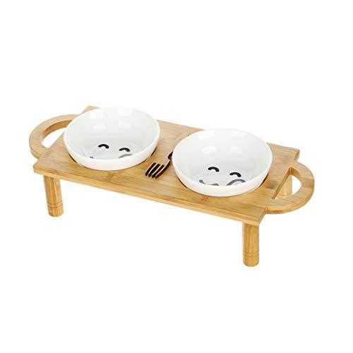 CXQ Hundenapf Katzennapf Doppel Keramik Trinkschale Bambus Regal Katzenfutter Hundefutter Haustierbedarf