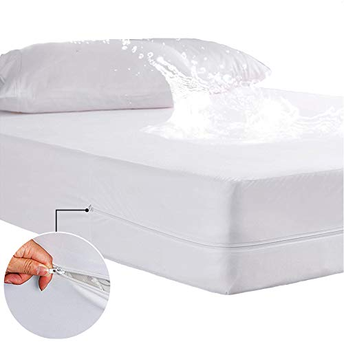 GEBIN Waterproof Mattress Protector with Zipper, Fitted Mattress Cover, Fitted Sheet, Stretches Up To 30cm Deep Lightweight Breathable & Hypoallergenic. (90x200 cm)
