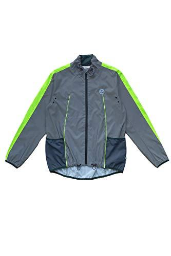 gofluo. Hero Sicherheitsweste - Reflektorweste - Fluo Neon - Warnweste - Reflektierende Jacke - Reflektierende Weste - Sichtbar im Dunkeln für Wanderer, Joggen, Fahrrad, Motorrad - Grau - M