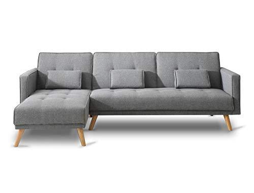 Bobochic - SCANDINAVE - Canapé d'angle réversible Convertible - 267x151x88cm - Gris Clair