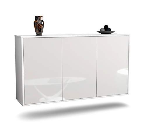 Dekati Sideboard Chattanooga hängend (136x77x35cm) Korpus Weiss matt | Front Hochglanz Weiß | Push-to-Open