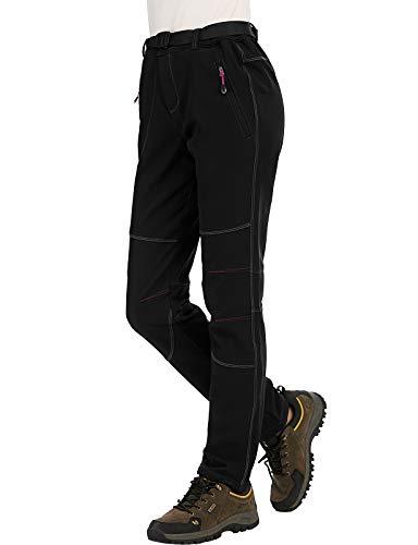 DENGBOSN Damen Wanderhose Skihose Wasserdicht Softshellhose Winter Gefüttert Thermohose Trekkinghose Outdoorhose Mit Gürtel,KZ2707W-Black-XL