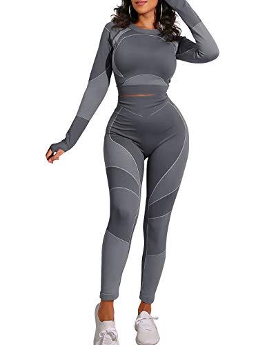 OYS Conjuntos de entrenamiento para mujer, trajes de 2 piezas, sin costuras, cintura alta, leggings de yoga, correr, deportes, manga larga, ropa de gimnasio - gris - S