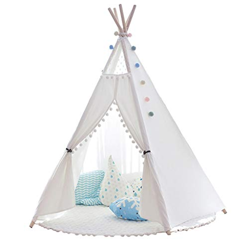 Kid Tent White Kids Tent, Large Space Pentagonal Play Tent, Easy to Install and Store, Indoor Play Teepee, 110x165cm (Color : With mat)