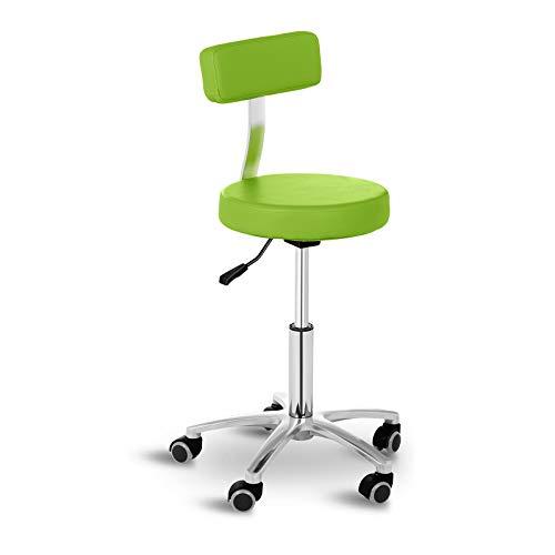 Physa Rollhocker mit Lehne Arbeitshocker Salonhocker Terni Green (grün, polierter Stahl, PVC-Bezug, 360° drehbare Rollen, Variable Sitzhöhe)