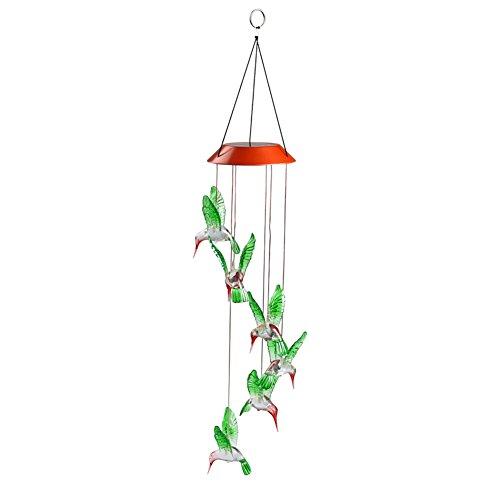 Hrph vent carillon LED lumière solaire changeant couleur Colibri suspendu pelouse jardin jardinage Maison décoration