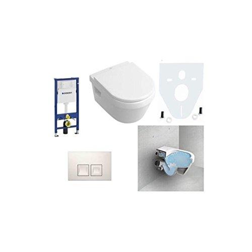 Geberit Duofix Vorwandelement, V&B Omnia Combi-Pack Architectura, DirectFlush WC Spülrandlos Komplettset + Deckel Softclose, Ceramicplus Drückerplatte Eckig