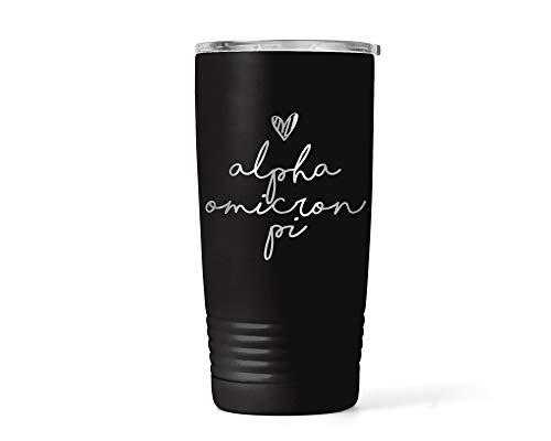 Alpha Omicron Pi Handwriting Script Insulated Coffee Tumbler Lid Travel Mug ET0048