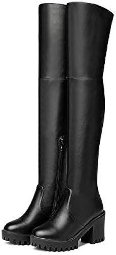 HOESCZS 2019 Femmes Au Genou Bottes PU Mode Bout Rond Mode Zipper Conception Synthétique Solide Chaussures Dames Taille 34-43