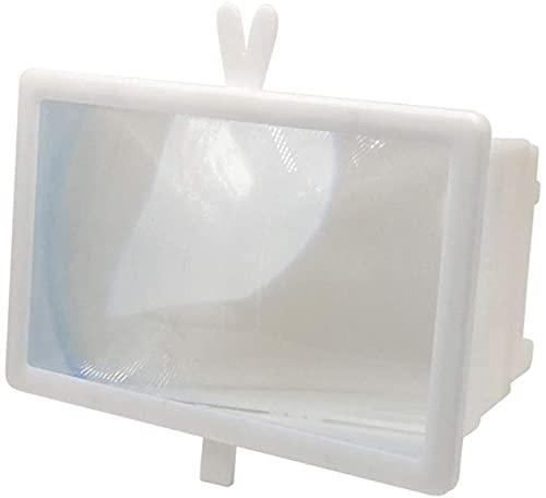 Amplificador de la Lupa de la Pantalla del teléfono móvil 3D de 12 Pulgadas, Soporte de Soporte Plegable, Adecuado para Ver Videos de películas en Todos los teléfonos Inteligentes (Color : Blanco)