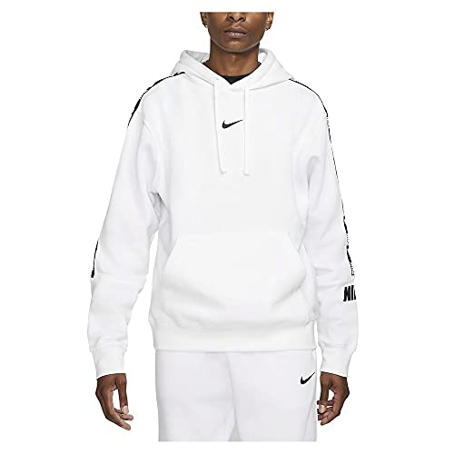 Nike M NSW Repeat FLC Po Hoodie BB Haut, Blanc/Noir, L Homme