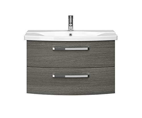 Pelipal FOKUS 4010 Bad Möbel Set (2 teilig) / Graphit Struktur, Keramikwaschtisch, Unterschrank