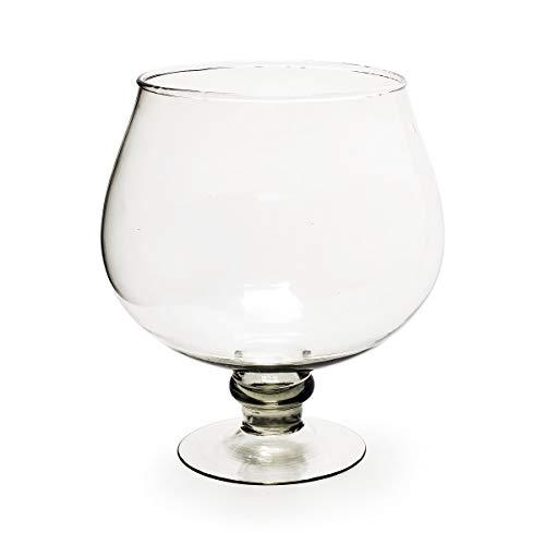 ecosoul serveerschaal beker van glas glazen schaal op steel rond zeer groot H: 26 cm D: 22 cm