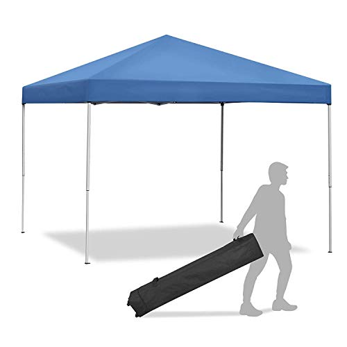 Smartxchoices Pop Up Canopy Tent - 10 x 10 FT Blue Foldable and Height Adjustable Outdoor Tent Sun Protection Canopy Beach Shelter with Wheeled Carry Bag Steel Frame Waterproof Oxford Fabric… (Blue)