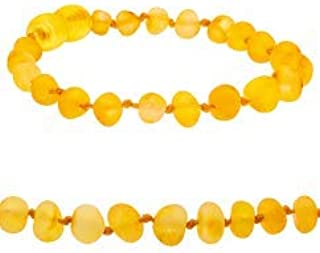 Amberalia Baltic Amber Bracelet, GIA Certificated- Sizes for All Ages - Boost Immune System - Natural Pain Relief - Raw Lemon 7.09