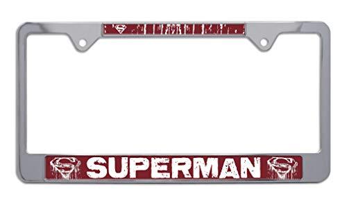 Superman Distressed Chrome Metal License Plate Frame