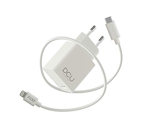 DCU Tecnologic | Cargador de Pared para iPhone | Carga rápida | Conector Lightning | Puerto USB-C o Thunderbolt 3 (USB-C) de Mac | Cable Lightning 1m Recubierto en PVC | Compatible con Apple | Blanco