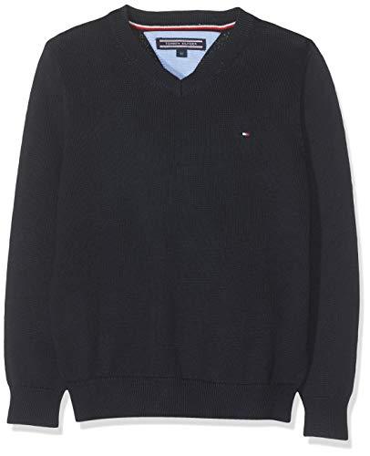Tommy Hilfiger Boys Basic V-Neck Sweater suéter, Azul (Sky Captain 420), 164 (Talla del Fabricante: 14) para Niños