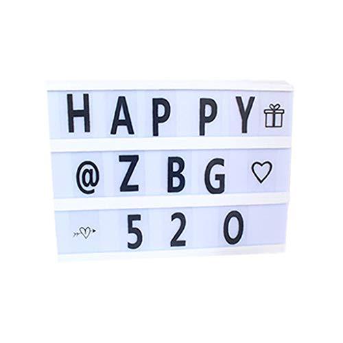 WYNA A4 LED leuchten Box, Zeichen filmische Nachricht Briefkasten Kunststoff Kino Zeichen mit 90 Zeichen Zahlen, DIY Festival/Geburtstag,White,Switch