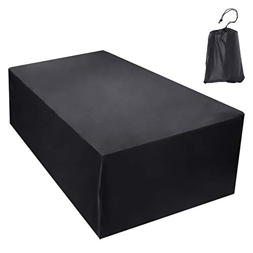 Vingtank Garden Furniture Cover Waterproof Dustproof Breathable Oxford Protective Cover for Outdoor Table and Chairs Seating Set Anti-UV Black