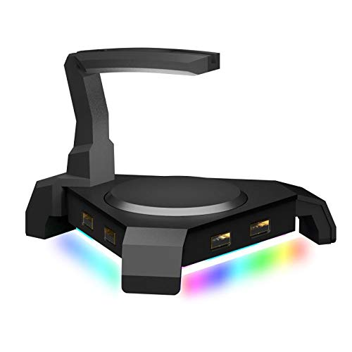 MOTOSPEED Gaming Mouse Bungee Cable Holder with 4 Port USB Hub -4 LED Backlit RGB