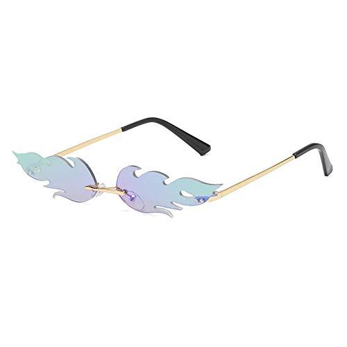 DLSM Gafas de Sol Mujeres sin Llama Llama Pequeñas Gafas de Sol Espejo de Metal Gafas de Sol para Hombres Retro Adecuado para Fiesta Golf Gafas de Sol de conducción-Verde de Oro