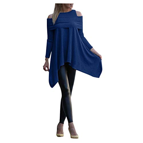 Damen Tops Solid Langarm Unregelmäßiges Sweatshirt Oberteil Loose Print Pullover Bluse