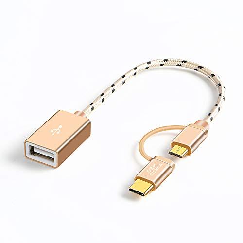 CableCreation Cable 2 en 1 Micro USB B macho a USB 2.0 A hembra con adaptador USB C a Micro USB B hembra, cable OTG corto para dispositivos Android y tipo C, 0,18 m, aluminio gris espacial, Rojo, 0.5 feet