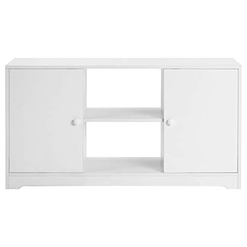 Belissy Mueble para TV, mueble bajo de TV, mesa de televisión, mueble de TV, armario de TV, soporte de madera,soporte de TV con estantes abiertos y 2 armarios de almacenamiento,mesa de consola, 108 cm