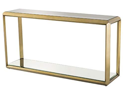Casa Padrino Konsole Messingfarben/Schwarz 150 x 40 x H. 78 cm - Edelstahl Konsolentisch mit Glasplatte und Spiegelglas Wohnzimmer Möbel