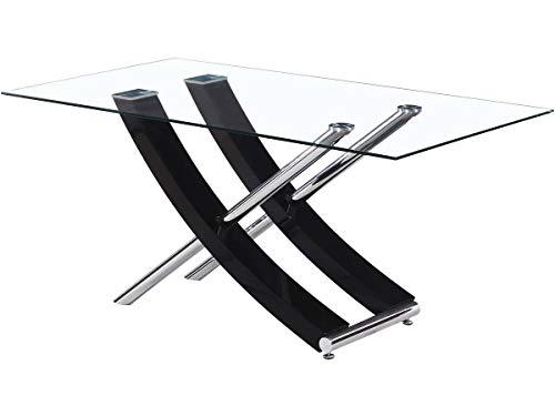 Mesa Diva en vidrio - 160 x 90 x 76 cm - Negro lacado