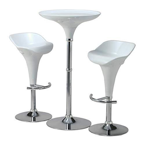 ラウンドバーハイテーブル(111cm高)3点セット艶ホワイト(白)ガス圧昇降バーチェア2脚付き