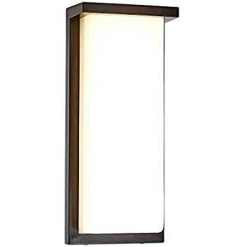 Hamilton Hills Flush MountModern Outdoor Wall Sconce | Squared 14  Bright Clean Line Black Exterior Light | Brushed Nickel Finish with Frosted Lens | 3000K LED Lighting with No Bulb Required