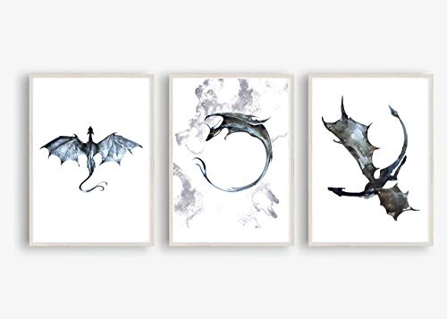 Kunstdruck Din A4 ungerahmt 3-teilig Drache Drachen Dragon Fantasy Aquarell Blau Grau Poster Bild