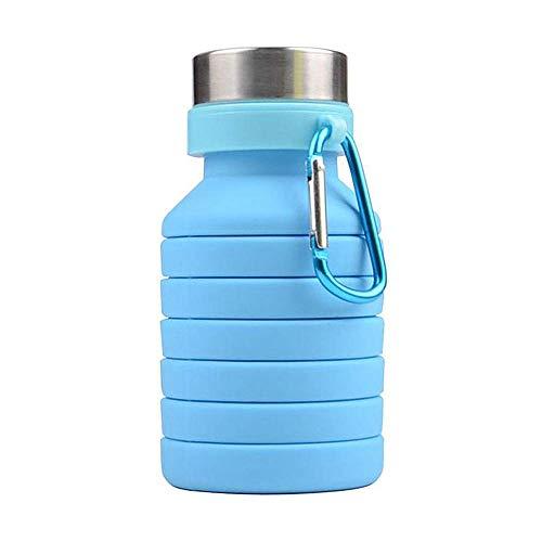 Faltbar Wasserflasche, Silikon Zusammenklappbar Sport Pokal - Lebensmittelqualität Auslaufsicher Wasser Flaschen - Gipfel Becher - für Außen, Reise, Camping und Wandern, Radfahren Laufen - Blau
