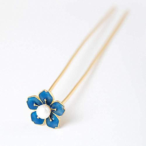 YEESEU. 925 Sterlingsilber-Hairpin-Haar-Stock Retro chinesischer Epoxy-Blumen-Perlen Plum klassisches weibliches Temperament Braut-Haar-Zusatz-Dekoration Feste
