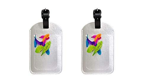 Amame pétalos Maleta de Etiqueta de Equipaje de Cuero de PU, Correa de Cuero Ajustable Resistente a los arañazos, diseño Elegante Paquete de 2